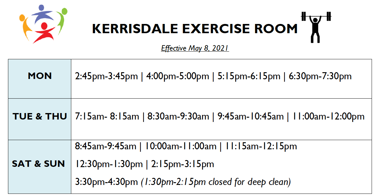 Kerrisdale Exercise Room – New Extended Hours!