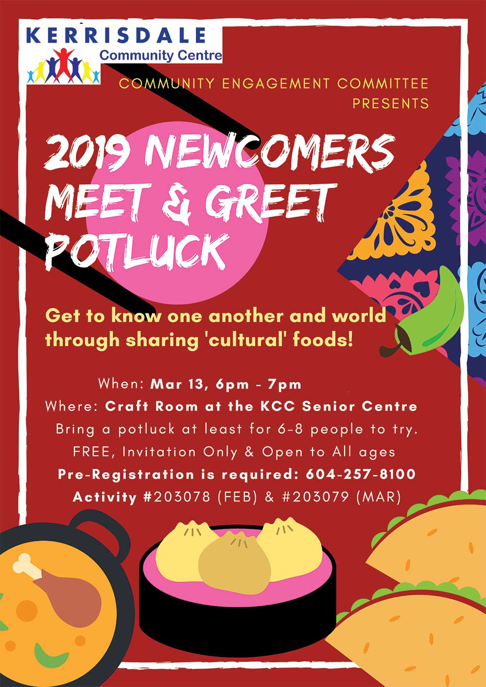 Newcomers Meet & Greet Potluck-Feb13,Mar13